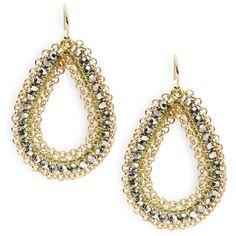 Panacea Beaded Teardrop Earrings ($25) ❤ liked on Polyvore featuring jewelry, earrings, silver, golden earring, silver fish hook earrings, beaded jewelry, teardrop shaped earrings and silver earrings