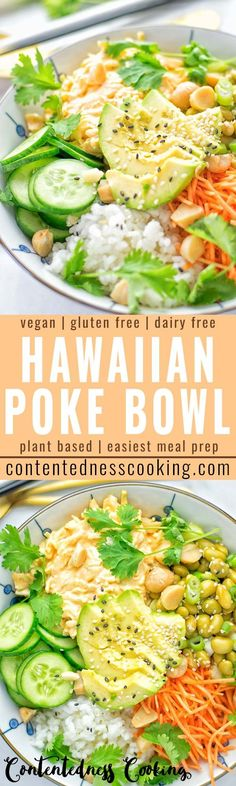 Easy and delicious: This Hawaiian Poke Bowl is naturally vegan, gluten free. Made with sushi rice, an amazing white cabbage mix with creamy sriracha sauce and edamame for protein richness. You can add options like shredded carrots, seaweed flakes, and Dairy Free Diet, Dairy Free Recipes, Vegan Recipes Easy, Lunch Recipes, Whole Food Recipes, Vegetarian Recipes, Cooking Recipes, Gluten Free, Edamame