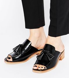 Shop Women's ASOS Black size 10 Flats & Loafers at a discounted price at Poshmark. Description: Black open toe tassel loafers w approx wood stacked heels. ASOS size: Sold by ltsposhshop. Latest Fashion Clothes, Fashion Shoes, Fashion Online, Tassel Loafers, Loafers For Women, Black Patent Leather, Flat Shoes, Heeled Mules, Loafer Mules