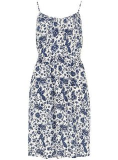 Blue and White Floral Dress - Fit & Flare Dresses - Dresses