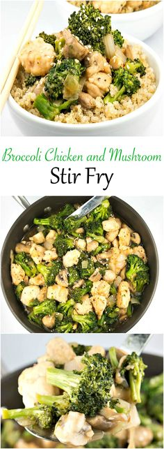 "Broccoli Chicken and Mushroom Stir Fry is so deliciously flavorful, it takes the guessing out of ""what's for diner?"""