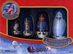 Rudolph The Red-Nosed Reindeer 50th Anniversary Wood Nesting Dolls
