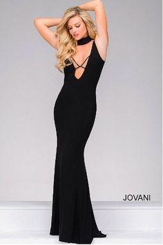 Jovani Stefanel Criss Cross Front Jersey Fit Prom Dress