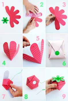 Ideas Diy Paper Box Printable For 2019 Diy Paper, Paper Crafts, Strawberry Box, Diy And Crafts, Arts And Crafts, Papier Diy, Diy Gifts, Wraps, Gift Wrapping