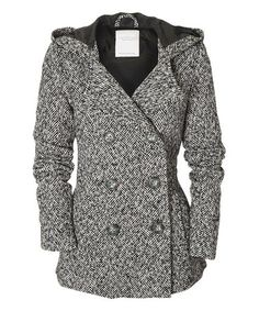 Love this Black Herringbone Hooded Peacoat by Aéropostale on #zulily! #zulilyfinds