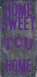 TCU Horned Frogs Wood Sign - Home Sweet Home 6x12