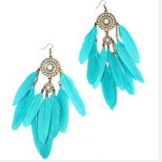 feather earrings Feather Jewelry, Feather Earrings, Cute Earrings, Drop Earrings, Blue Dream Catcher, Dream Catcher Earrings, Blue Feather, Crown Jewels, Toe Rings