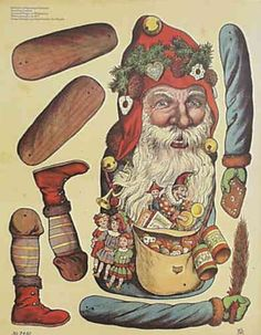 EKDuncan - My Fanciful Muse: Articulated Paper Dolls - Vintage and New Paper Puppets, Paper Toys, Paper Games, Christmas Paper, Christmas Crafts, Father Christmas, Christmas Decoupage, Xmas, Victorian Christmas