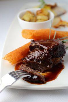 Slow Braised Veal Cheeks, Hot Porcini Terrine, Ossau-Iraty