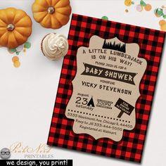 Lumberjack Baby Shower Invitation - Camping Baby Shower Invitation