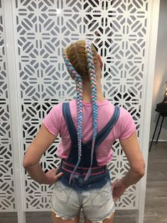 Blue and pink dutch braids with extensions, festival style hair # feed in dutch Braids Dutch Braids # feed in dutch Braids # festival Braids colorful # feed in dutch Braids Colored Hair Extensions, Hair Extensions Best, Braid In Hair Extensions, Cute Hairstyles For Teens, Teen Hairstyles, Braided Hairstyles, Festival Braid, Festival Style, Two French Braids