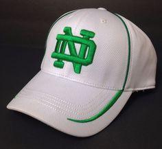 050e1919 NOTRE DAME FIGHTING IRISH HAT White&Green ND logo FLEX FIT L/XL (7 3/8 1/2  5/8) | eBay