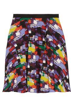Catherine Malandrino Printed stretch-silk mini skirt