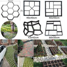 Details about 5 Style pathmate Paving Pavement Mold Concrete Stepping Stone Path Walk Maker Allow th Stepping Stone Paths, Concrete Stepping Stones, Concrete Patios, Concrete Molds, Concrete Steps, Concrete Walkway, Diy Stamped Concrete, Pathway Stone, Concrete Stamping