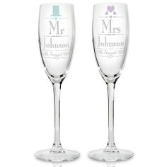 Personalised Decorative Wedding Mr and Mrs Flutes  from www.personalisedweddinggifts.co.uk :: ONLY £24.99