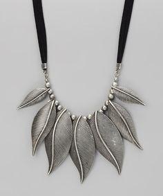 Silver Antique Leaves Bib Necklace