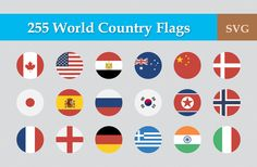 255 Flat Circular World Country Flag by CustomIconDesign on Creative Market