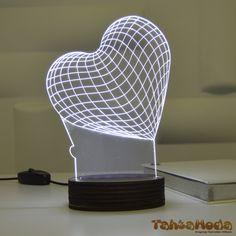 Tahtamoda 3D 3 Boyutlu Dekoratif Led Lamba Kalp Aşk - tht3d5