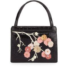 Nancy Gonzalez Small Cherry Blossom Top-Handle Bag ($2,950) ❤ liked on Polyvore featuring bags, handbags, blush multi, croc handbags, zip tote, crocodile embossed top handle bags, top handle handbags and crocodile handbags