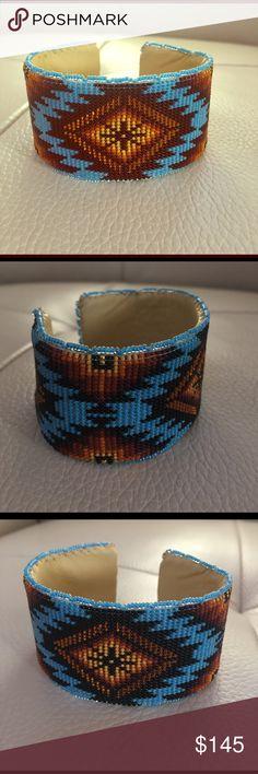 Beaded cuff Sioux beaded cuff Jewelry Bracelets