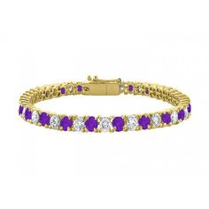 Amethyst and Cubic Zirconia Tennis Bracelet with 10CT TGW on 18K Yellow Gold Vermeil. 7 Inch