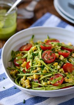 Courgetti Salad with Cherry Tomatoes, Grilled Corn & Herby Dressing