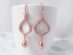 Rose gold earrings, Rose Gold Bridal earrings, Rose Gold Wedding jewelry, Rose Gold Drop Earrings, Long Wedding earrings Bridal jewelry, - pinned by pin4etsy.com