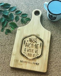 "Home is Where we Park it 7x13.5"" bamboo paddle cutting board  Father's Day Mothers Day gift, new rv,  camping design outdoor affordable gift by Dogtowncollectibles on Etsy"