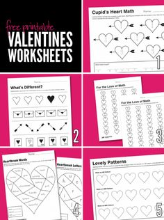 Free Printable Worksheets for Valentine's Day.
