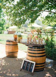 outdoor summer wedding... I love the barrel/mason jar thing