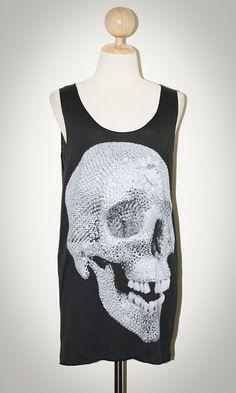 NEW Crystal Diamond Skull Lost Tooth Halloween Black Grey Tank Top Sleeveless Women Art Punk Rock T-Shirt Size M