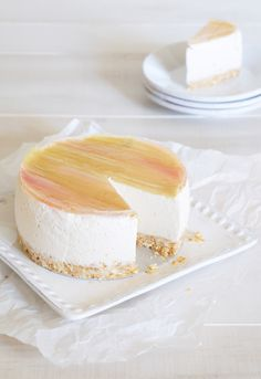 Rhubarb Summer Cheesecake with Vanilla Bean