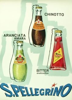Vintage San Pellegrino poster and product line up.