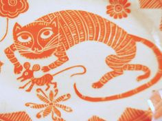 Whimsical CAT & MOUSE Handmade PLATTER Orange by TheClayBungalow