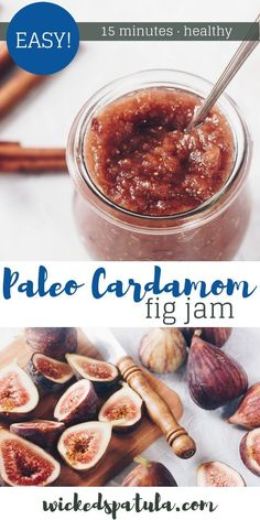 Cardamom Fig Jam - Honey Sweetened Cardamom Fig Jam - This refined sugar free jam is so perfect on toast, crackers, or cheese! Try it with blue cheese and prosciutto! Best Paleo Recipes, Fig Recipes, Primal Recipes, Real Food Recipes, Jelly Recipes, Canning Recipes, Veggie Recipes, Recipies, Homemade Fig Jam