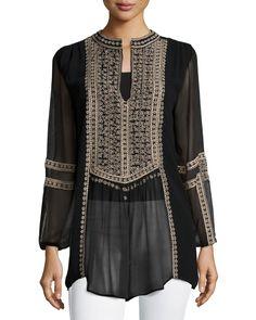 Lauren Embroidered Boho Blouse, Women's, Size: 1X (14/16W), Black - Tolani