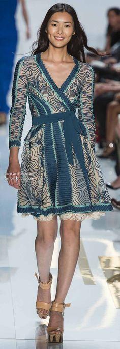 Diane von Furstenberg Spring 2014 New York Fashion Week » #NYFW.   Teal swirl wrap dress