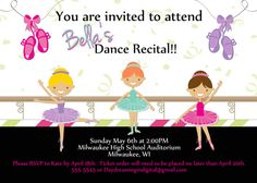 Free printable dance recital invitation Party Printables