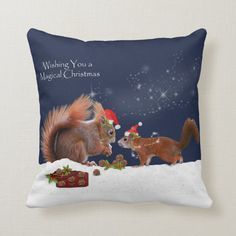 Magical Christmas Pillow - tap to personalize and get yours #red, #squirrel, #squirrels, #rodent, #rodents, Magical Christmas, Christmas Holidays, Christmas Card Holders, Christmas Cards, Accent Pillows, Throw Pillows, Red Squirrel, Christmas Pillow, Artwork Design