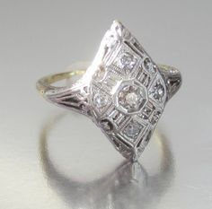 Antique Art Deco Diamond Engagement Ring 14K by magwildwoodscloset