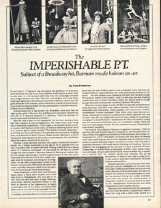 "1980 P. T. BARNUM vintage magazine article ""Imperishable P.T."" ~ by Tom Prideaux ~ The Imperishable P.T. - Subject of a Broadway hit, Barnum made hokum an art - Stiltwalker dwarfs Tom Thumb - Jim Dale flirts with Jenny Lind (Marianne Tatum) - Chang ..."