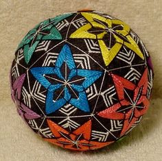 Temari means Handball. A Highly valued gift symbolizing deep friendship and loyalty. Brightly colored threads with the Recipient a Brilliant and Happy Life  Temari is an ancient form of Japanese culture and art, the gift or a Temari ball is believed to bring good fortune to the recipient. This Temari ball is made with rice hulls and a bell then wrapped with thread and sewn with contemporary and traditional patterns.  This ball is made by me, Beth
