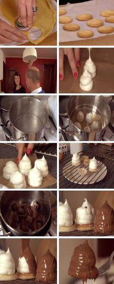 Melo cakes recept stap voor stap maken: zandkoekjes bakken, eiwit opkloppen met suiker en maiszetmeel, torentjes spuiten, stomen en bedekken... No Cook Desserts, Sweet Desserts, Delicious Desserts, Yummy Food, Healthy Sweet Snacks, Sweet Treats, Chocolate Cupcakes Decoration, Cake Recept, Decoration Patisserie