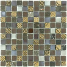 "Quest  Backsplash, 7/8"" x 7/8"", Chocolate, Polished, Brown, Glass and Stone"