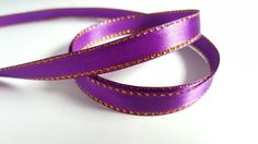 3m Satin Ribbon - Gold-Edged - 10mm - Purple