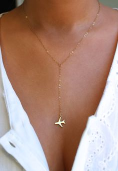 Airplane Lariat Necklace Travel Inspired by CharmedTraveler
