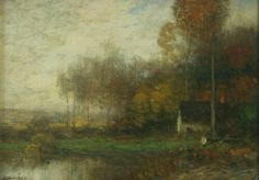 John Francis Murphy (American, 1853-1921),Autumn. Oil on canvas, 4 3/4 x 6 1/2 in.