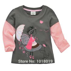18M~6T, New 2015 Quality Cotton Branded Baby Girls Clothing Children Toddler Kids Clothes Girls Tees T-Shirts t Shirts Outerwear