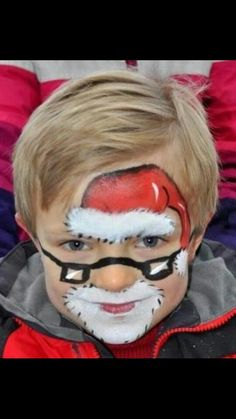 santa with glasses - detailed work when I have extra time Merry Little Christmas, Christmas Art, Xmas, Face Painting Designs, Body Painting, Tinta Facial, Maquillage Halloween Simple, Christmas Face Painting, Art Visage