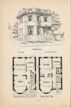 Artistic City Houses by Herbert C. Chivers, Architect: Page 12 (of Artistic City Houses by Herbert C. Chivers, Architect: Page 12 (of Victorian House Plans, Vintage House Plans, Antique House, Victorian Homes, Vintage Architecture, Architecture Drawings, Architecture Plan, Dream House Plans, Small House Plans